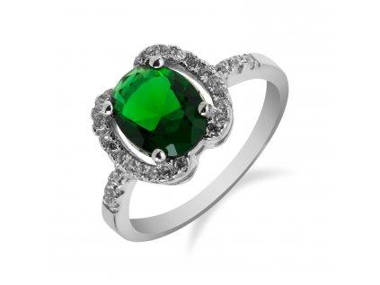 Stříbrný prsten se smaragdem a zirkony po stranách - Meucci SS78R/02