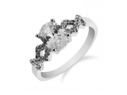 Stylový stříbrný prsten s oválným zirkonem - Meucci SS83R/08