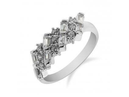 Stříbrný prsten s obdélníkovými a kulatými zirkony - Meucci SS90R