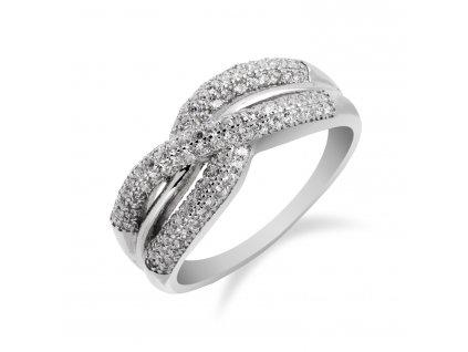 Výrazný stříbrný prsten s mnoha zirkony - Meucci SS110R