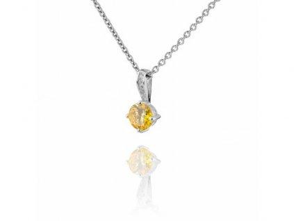 Jemný stříbrný náhrdelník se žlutým topazem a zirkony