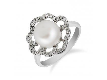 Stříbrný prsten s kytičkou a perlou - Meucci SP47R