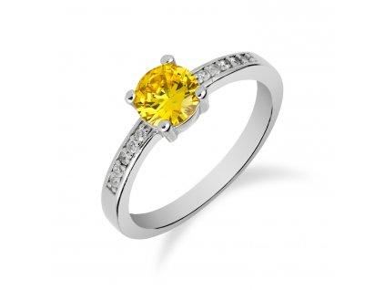 Roztomilý stříbrný prsten s citrínem a zirkony