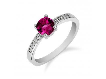 Roztomilý stříbrný prsten s turmalínem a zirkony - Meucci SS82R/04