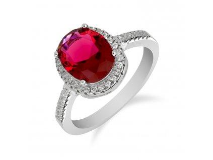 Stříbrný prsten s výrazným rubínem a zirkony