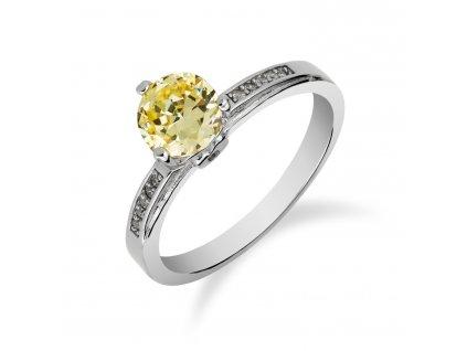 Stříbrný prsten s drobným citrínem a zirkony - Meucci SS135R/09