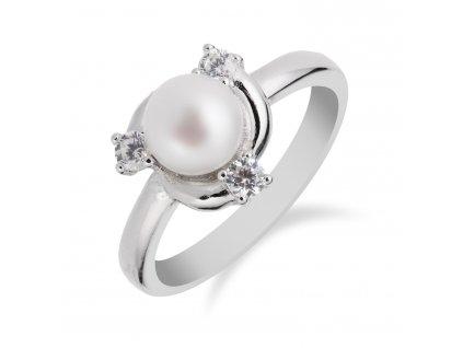 Stříbrný prsten s perlou a třemi zirkony okolo - Meucci SP55R
