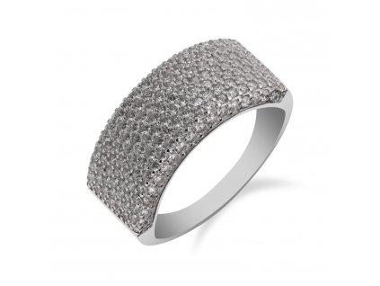 Masivní prsten ze stříbra posetý zirkony - Meucci SS154R