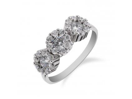 Prsten ze stříbra zdobený třemi zirkony a zirkony okolo - Meucci SS155R