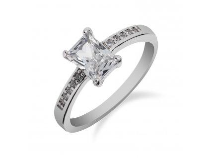 Prsten ze stříbra se zirkonovým obdélníkem - Meucci SS158R