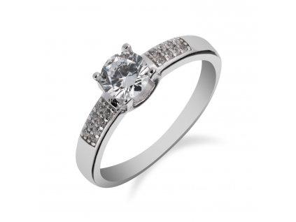 Prsten ze stříbra se zirkonem dozdobený drobnými zirkony - Meucci SS163R