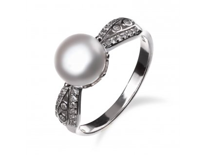 Stříbrný prsten se zirkony a perlou