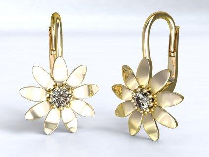 Zlaté náušnice s květem - 3Dstyl 20690102