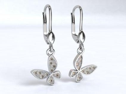Visací náušnice z bílého zlata s motýlkem - 3Dstyl 20590101
