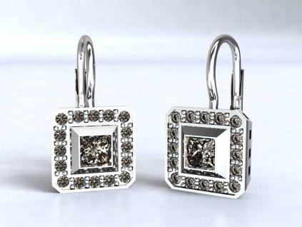 Dvojitě čtvercové náušnice z bílého zlata vyplněné zirkony - 3Dstyl 22240101
