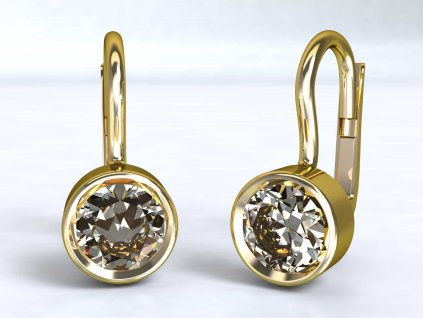 Zlaté náušnice s čirým zirkonem - 3Dstyl 22260102