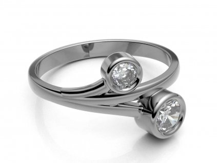 Prsten z bílého zlata s dvěma kulatými zirkony - 3Dstyl 31390101