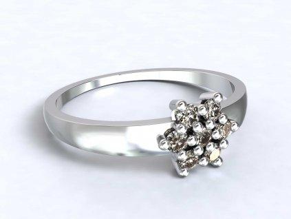 Prsten z bílého zlata s kytičkou ze zirkonů - 3Dstyl 31400101