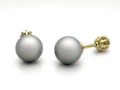 Jednoduché zlaté náušnice s perlou- 3Dstyl 21090102