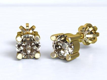 Zlaté náušnice s kulatým zirkonem  - 3Dstyl 21120102
