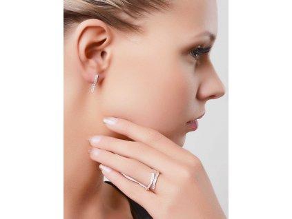 Prohnuté náušnice z bílého zlata se zirkony - 3Dstyl 21770101