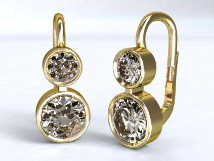 Zlaté náušnice s dvěma čirými zirkony - 3Dstyl 22270102