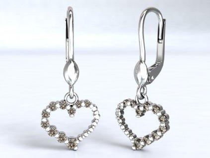 Visací náušnice z bílého zlata s ozdobou srdce se zirkony - 3Dstyl 22280101