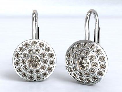 Náušnice z bílého zlata s kruhovými řadami zirkonů  - 3Dstyl 22590101