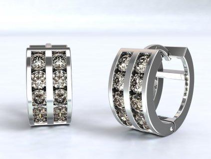 Náušnice z bílého zlata kroužky zdobené zirkony - 3Dstyl 22630101