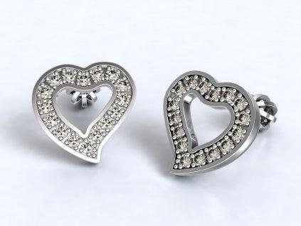 Náušnice z bílého zlata pecky ve tvaru srdce zdobené zirkony - 3Dstyl 22660101