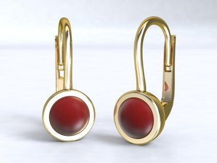 Zlaté náušnice s červeným krystalem - 3Dstyl 22750102