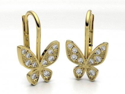 Zlaté náušnice s motýlkem - 3Dstyl 22780102