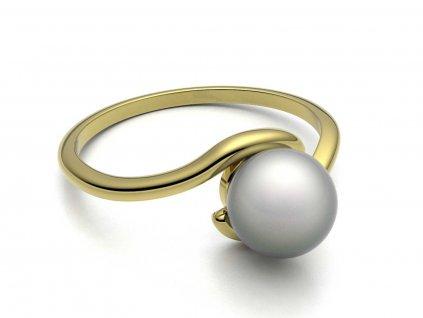 Zlatý prsten s perlou v obloučku - 3Dstyl 30880102