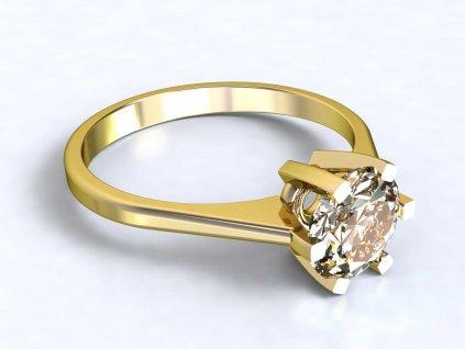 Zlatý prsten s výrazným zirkonem - 3Dstyl 30990102