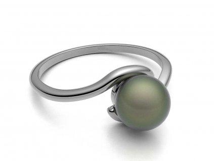 Prsten z bílého zlata s perlou v obloučku - 3Dstyl 30880101
