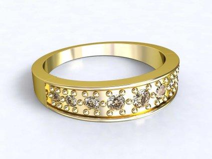Zlatý prsten zdobený zirkony - 3Dstyl 31310102