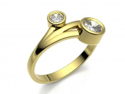 Zlatý prsten s dvěma kulatými zirkony - 3Dstyl 31390102