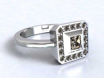 Dvojitě čtvercový prsten z bílého zlata vyplněný zirkony  - 3Dstyl 31470101