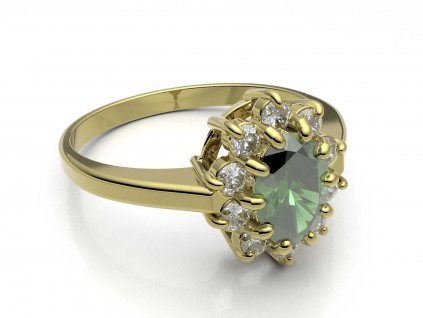 Elegantní zlatý prsten s chrysolitem a zirkony  - 3Dstyl 31510102