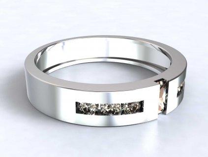 Prsten z bílého zlata s jemným zirkonovým zdobením  - 3Dstyl 31580101