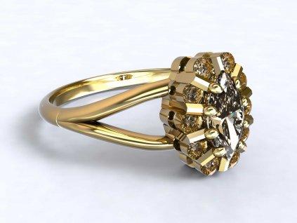 Zdobný zlatý prsten se zirkony  - 3Dstyl 31520102