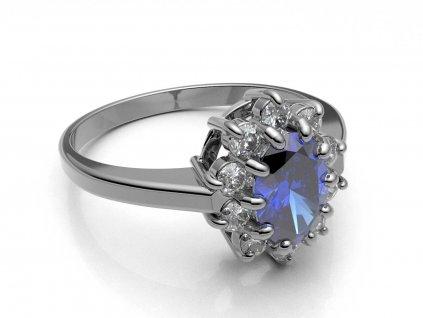 Elegantní prsten z bílého zlata se safírem a zirkony  - 3Dstyl 31510101