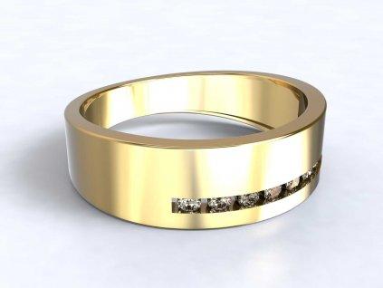 Zlatý prsten s proužkem zirkonů  - 3Dstyl 31620102