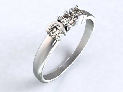 Prsten z bílého zlata se třemi zirkony a zdobením - 3Dstyl 31630101