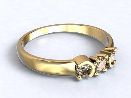 Zlatý prsten se třemi zirkony a zdobením - 3Dstyl 31630102