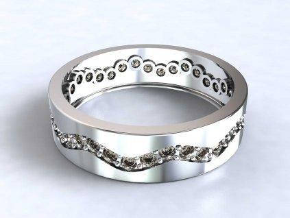 Prsten z bílého zlata se zirkonovou vlnkou dokola  - 3Dstyl 31880101