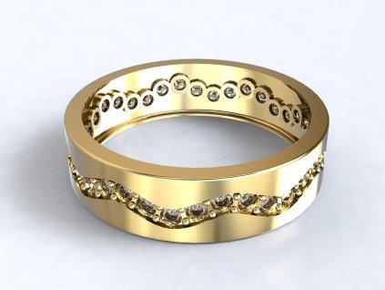 Zlatý prsten se zirkonovou vlnkou dokola  - 3Dstyl 31880102