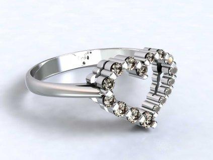 Prsten z bílého zlata s ozdobou srdce se zirkony  - 3Dstyl 32060101