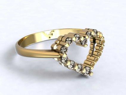 Zlatý prsten s ozdobou srdce se zirkony  - 3Dstyl 32060102