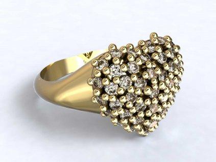 Zlatý prsten se srdcem bohatě zdobeným zirkony  - 3Dstyl 32120102